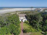 2220 Bruce Drive Lot 1, St. Simons, GA 31522 - Image 1: The aerial view shows the proximity of the house to the ocean.  Under the live oak to the left is the tiny cottage.