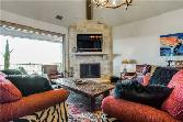 2212 Century Oak Drive Lot 16, Possum Kingdom Lake, TX 76449 - Image 1: Spacious main living area with wood-burning fireplace, open to dining area & kitchen.